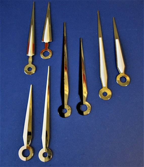 4 Pairs of Painted Shiny Solid Brass Sword Design Clock Hands for your Clock Projects and Etc..Stk#511
