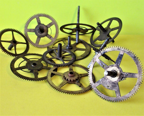 10 Assorted Old and Tarnished Solid Brass and Steel Clock Parts for your Clock Projects - Steampunk Art Stk#699