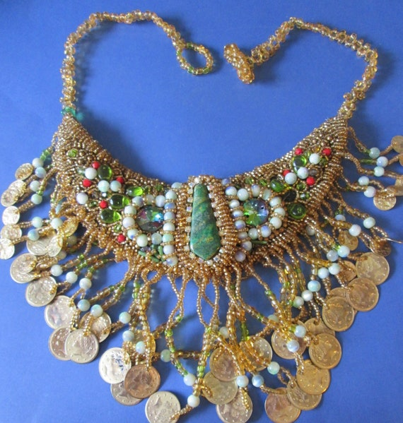 Super Detailed Vintage Handmade Beaded Fashion Statement Necklace