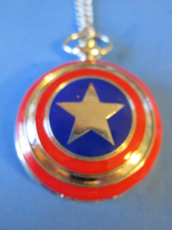 "1 New Captain America Quartz Pocket Watch Pendant - Chrome with 32"" Chain - Great Gift for Captain America Lovers"