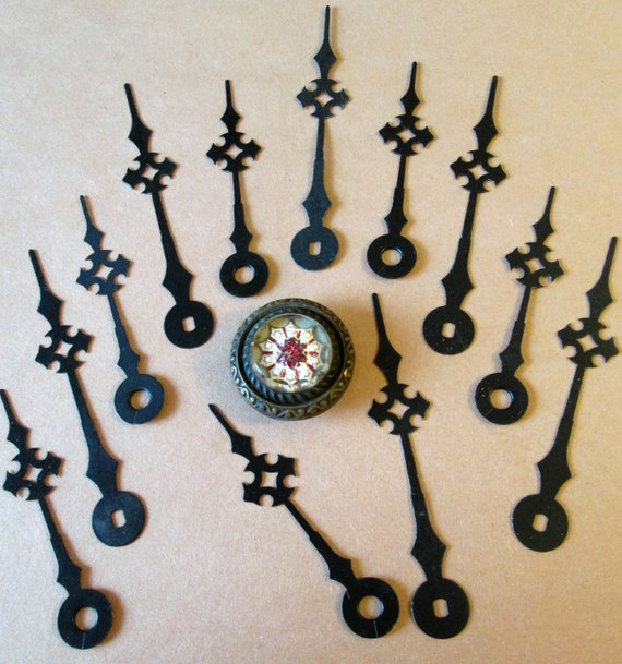 """6 Pairs of Vintage Black Steel Maltese Design Clock Hands 3 1/4"""" and 2 5/8"""" for your Clock Projects, Jewelry Making, Steampunk Art"""