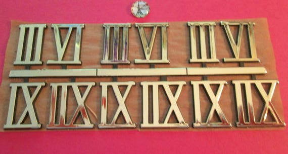 "3 Sets of Shiny Gold Thick Plastic Press On 1"" Clock Roman Numerals 3 6 9 12 for your Clock Projects, Steampunk Art, Altered Art"