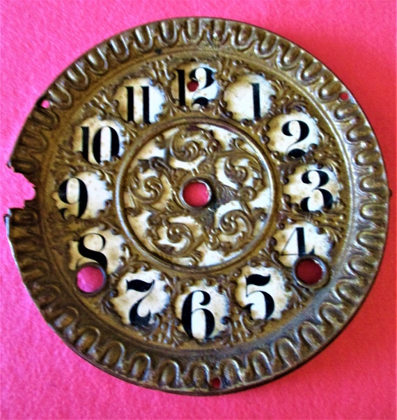 "5 1/2"" Wide Antique Solid Pressed Brass Fancy Clock Dial Stk# 852"
