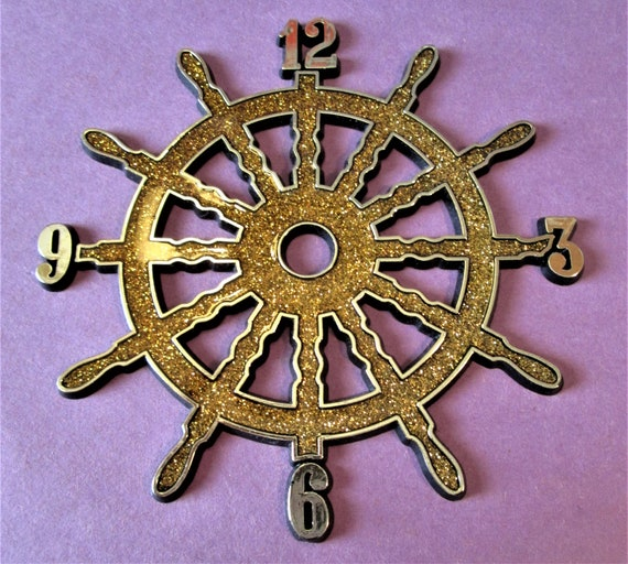 """1  5 1/4"""" Thick Plastic Ships Wheel Design Press On Clock Dial for your Clock Projects, Scrap Booking, Steampunk Art Stock#63"""