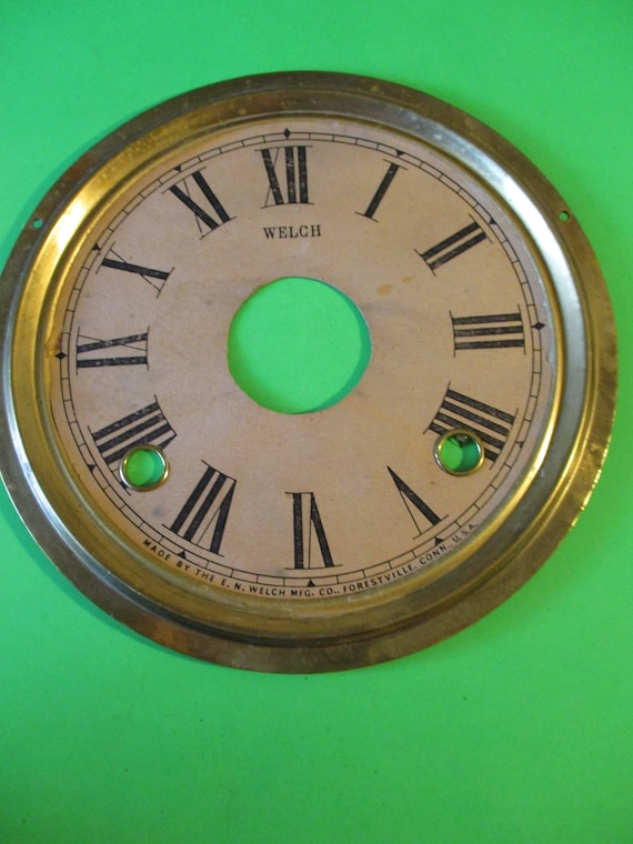 "6 1/2"" Old Welch Clock Dial - Paper on a Solid Brass Pan - for your Clock Projects - Art - Stk# 750"