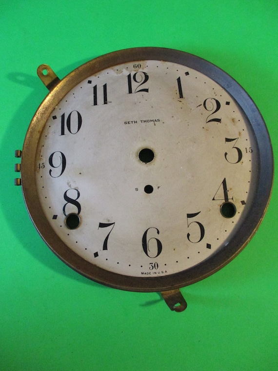 "5 1/4"" Antique Seth Thomas Painted Steel Clock Dial With Brass Bezel For your Clock Projects - Art - Stk# 753"