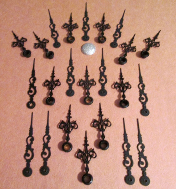 12 Pairs of Small Vintage Black Painted Solid Brass Serpentine Design Clock Hands for your Clock Projects - Jewelry Making - Steampunk Art
