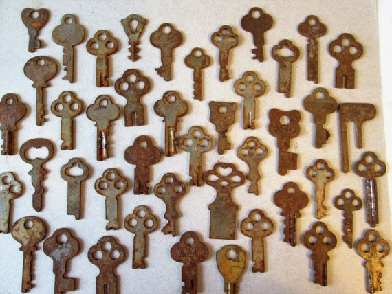 44 Assorted Original Antique Rusty and Dusty Keys for your Projects - Steampunk Art and etc...