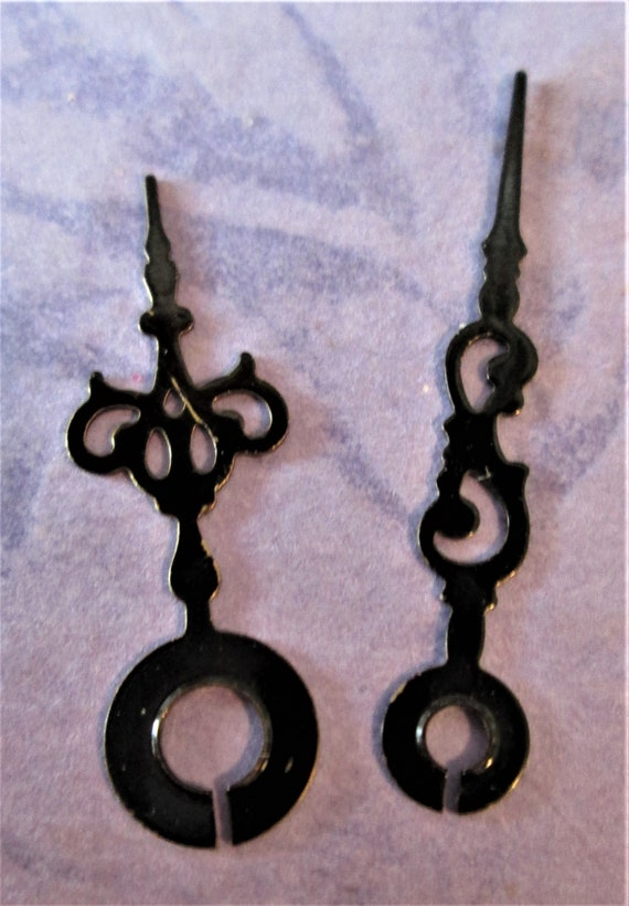 1 Pair of Fancy Tiny Black Painted Solid Brass Clock Hands for your Projects - Jewelry Making and Etc. Stock #355