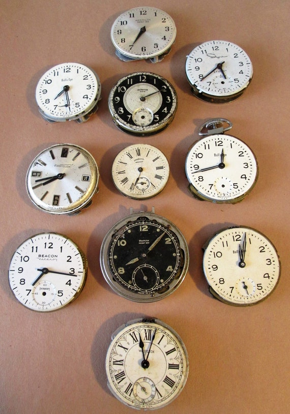 11 Assorted Antique & Vintage Partial Pocket Watches for your Watch Projects, Steampunk Art, Jewelry Crafts and Etc...