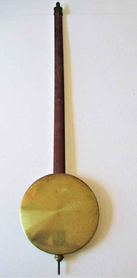"Large Vintage Japanese Made Brass and Cherry Wood 17 1/2"" Tall Case/Grandfather Clock Pendulum for your Clock Projects And Etc..."