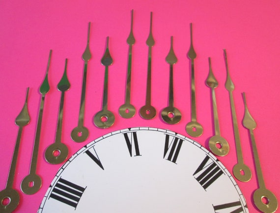 6 Pairs of New Large Shiny Brass Plated Steel Spade Design Clock Hands for your Clock Projects, Steampunk Art, Jewelry Making