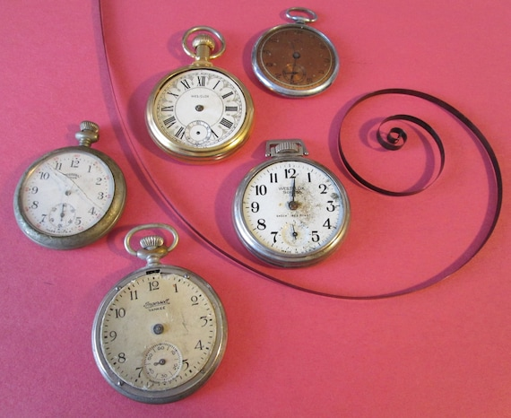2 Ingersol, 2 Westclox and 1 Normandie Vintage Partial Pocket Watches for your Watch Projects, Steampunk Art, Jewelry Crafts and Etc...