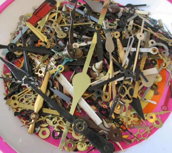 Huge Lot of Vintage and New Mixed Metals Clock Hands for your Clock Projects - Steampunk Art.  Each Picture is a Different Batch of Hands