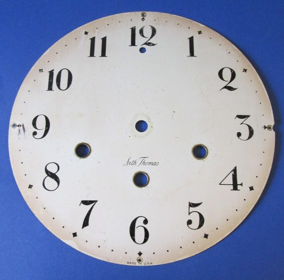 """6 5/8"""" Vintage Painted Thick aluminum Seth Thomas Clock Dial for your Clock Projects , Steampunk Art and Etc...Stk#360"""