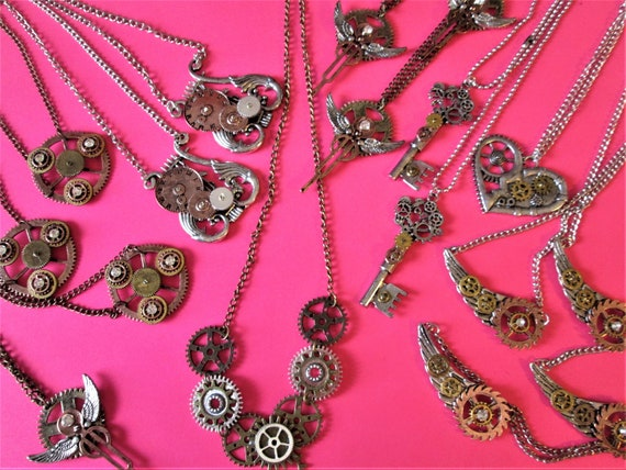 "CLEARANCE SALE !  17 New Assorted Steampunk Style Neclaces with 22"" Adjustable Chains - Gifts - Resell"
