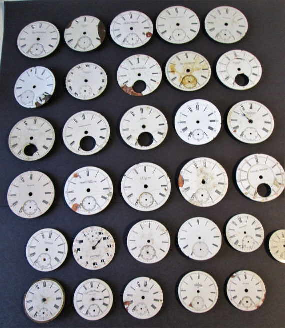 31 Assorted Antique and Vintage Porcelain Pocket Watch Dials for your Watch Projects - Jewelry Making - Steampunk Art