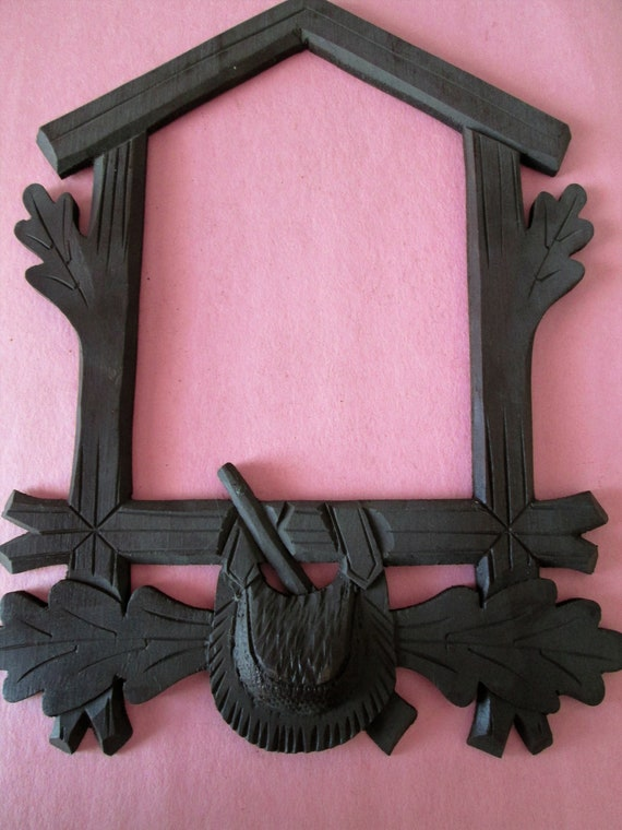 "Stained Dark Wood 9 1/2"" x 7 1/4"" German Made Cuckoo Clock Frame for your Clock Projects - Crafts"