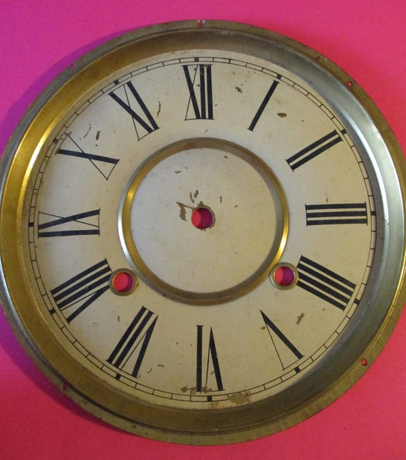 "8 1/2"" Vintage Painted Pressed Solid Brass Clock Dial for your Clock Projects - Art - Stk# 781"