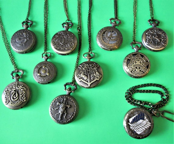 """10 New Reproduction """"Antiqued Look"""" Working Battery Movement Pocket Watches with 30"""" Chains Stk#320"""