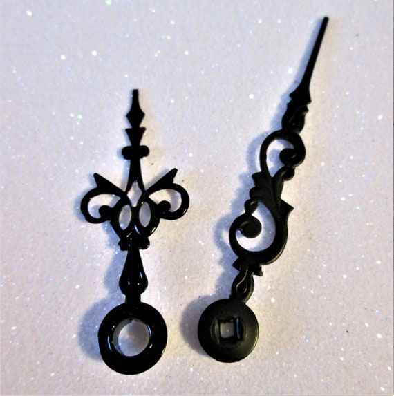 1 Pair of Small Black Painted Solid Brass Serpentine Style Clock Hands for your Clock Projects - Jewelry Making Stk#572
