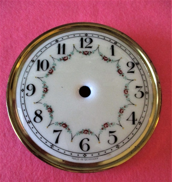 """4"""" Vintage German Brass Plated Steel and Porcelain Anniversary Clock Dial"""