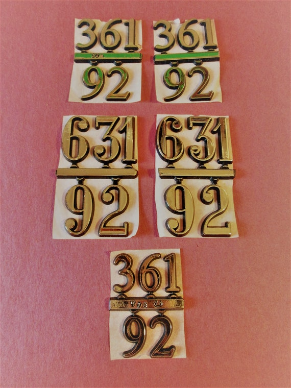 5 Sets of Shiny Gold Thick Plastic Press On Clock Numbers for your Clock Projects, Steampunk Art, Altered Art
