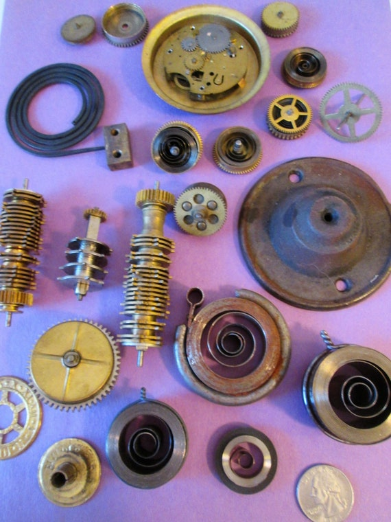 Nice Lot of Assorted Antique & Vintage Brass and Steel Clock Parts for your Clock Projects, Steampunk Art, And Etc..Stk#626