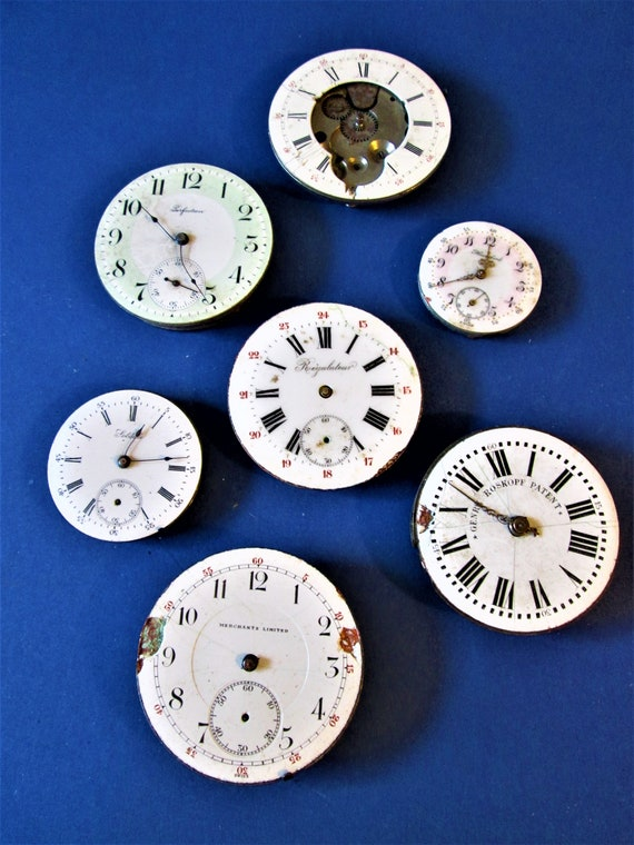 7 Antique Watch Mechanisms With Porcelain Dials for Parts - Steampunk Art - Jewelry Crafts and Etc...Stk# W66