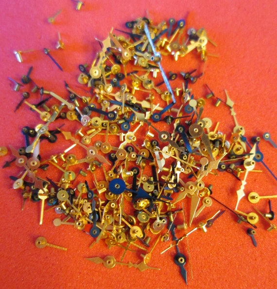 Nice Batch of Vintage Mixed Colored Tiny Watch Hands for your Watch Projects, Steampunk Art, Jewelry Crafts and Etc...