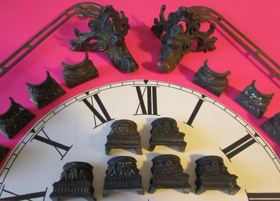 Nice Lot of Original Antique Mantle Clock Accessories and Feet for your Clock Projects - Steampunk Art - Metalwork