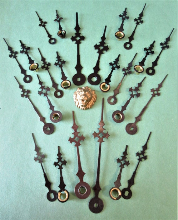 12 Pairs of Vintage Black Steel Maltese/Gothic Design Clock Hands for your Clock Projects - Steampunk Art - Jewelry Crafts  Stk#286