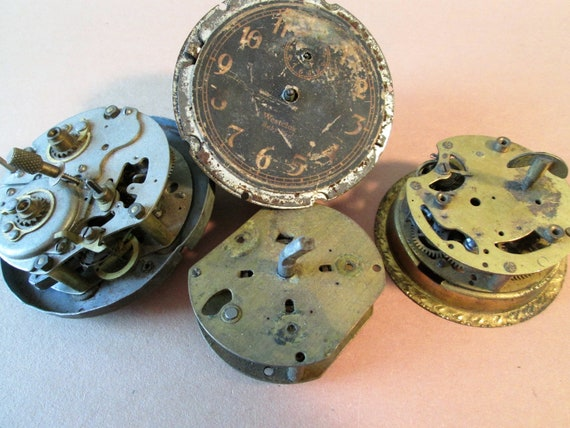 4 Old and Worn Alarm Clock Partial Works for your Clock Projects - Metalworking - Steampunk Art