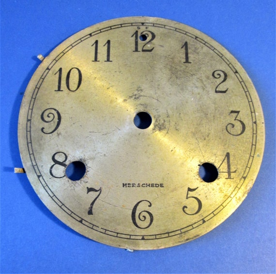 "5 1/4""  Herschede Thick Brass Clock Dial with 1/4"" Tall Numbers for your Clock Projects, Steampunk Art...Stk#429"