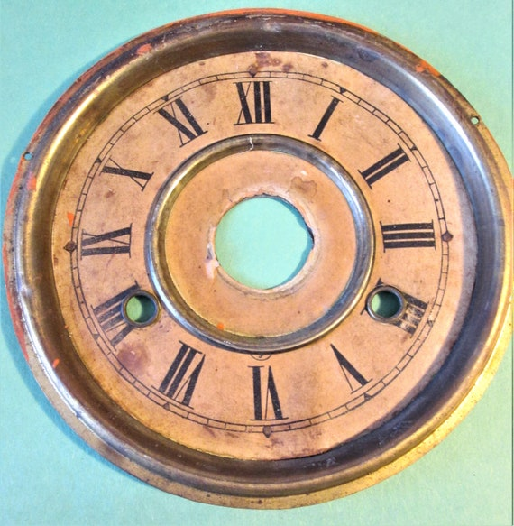 """Old and Worn and Slightly Dented Vintage 6 3/8"""" Paper,Brass and Tin Clock Dial for your Clock Projects, Steampunk Art. Stk#607"""