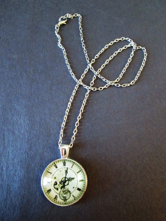 "1 New Antiqued Look Fancy Domed Glass Clock Theme Necklace 1"" Wide with an 18"" Silver Plated Chain - Great Gift Idea"