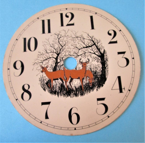 "1  4 1/2"" Tan Colored Painted Thick Aluminum Clock Dial - Deer in the Forest Theme with 1/2"" Black Numerals"