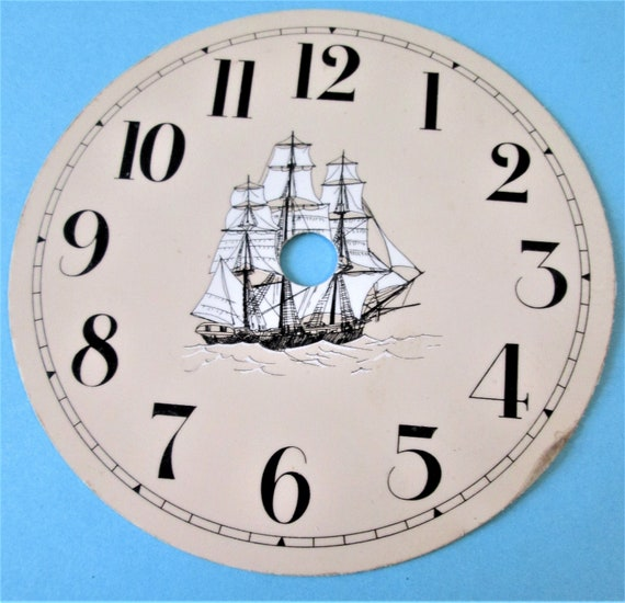 """1    4 1/2"""" Tan Colored Painted Thick Aluminum Clock Dial - Ship Theme with 1/2"""" Black Numerals"""