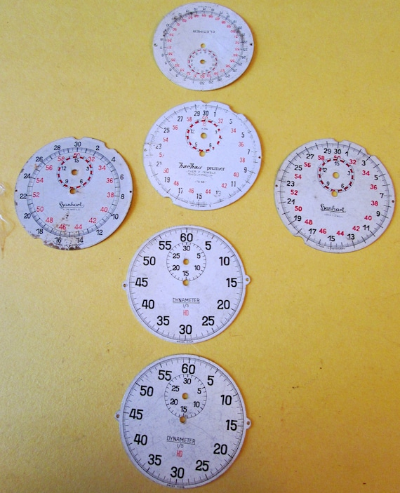 6 Assorted Vintage Metal Stop Watch Dials for your Watch Projects, Steampunk Art...