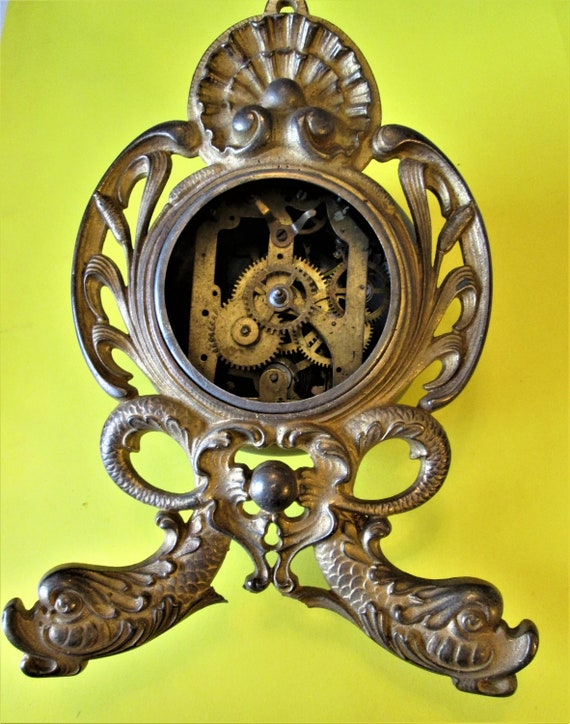 Large Old Fancy Gold Painted Cast Metal Clock Case with Partial Parts for your Clock Projects and Etc..