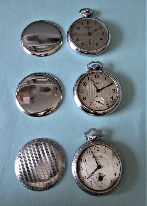 3 Assorted Old Ingersoll Watch Co. Partial Pocket Watches for Repair/Parts  Stk# W61