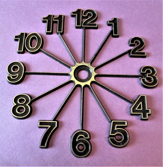 """1  3"""" Thick Plastic Press on Clock Dial With Black and Gold Numbers for your Clock Projects, Scrap Booking, Steampunk Art Stock#64"""