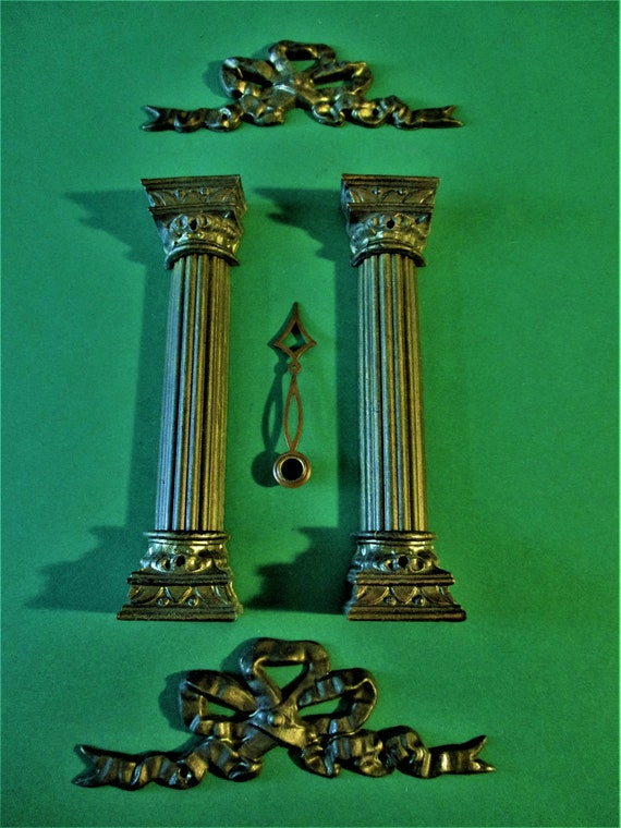 Set of 2 Original Antique Mantel Clock Pressed Steel Columns with Cast Metal Braces + 2 Bows for your Projects - Art  Stk# 208