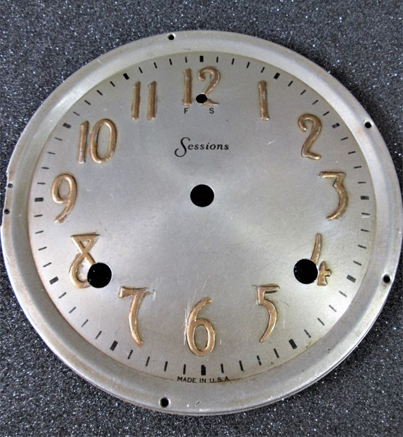 """6 1/2"""" Wide Vintage Pressed Aluminum Sessions Clock Dial for your Clock Projects - Art - Stk# 377"""