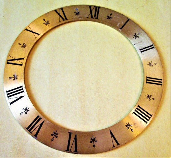 "6"" Vintage Thick Solid Brass Clock Dial Ring with Roman Numerals for your Clock Projects, Crafts & Etc..."