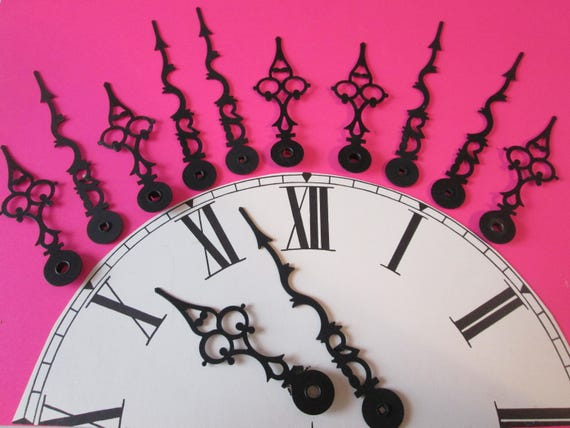 """6 Pairs of 4 1/8"""" and 3 1/8"""" Vintage Black Serpentine/Gothic Design Clock Hands for your Clock Projects, Jewelry Crafts, Steampunk Art"""