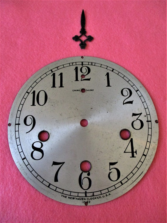 """5 1/2"""" New Haven Clock Co. Chime Silver Solid Brass Dial for Antique & Vintage Clocks - Steampunk Art - Stk# 844"""