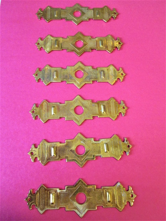 Set of 6 Vintage Thick Solid Brass Star Design Furniture/Clock Case Ornaments for your Projects - Steampunk Art and Etc.