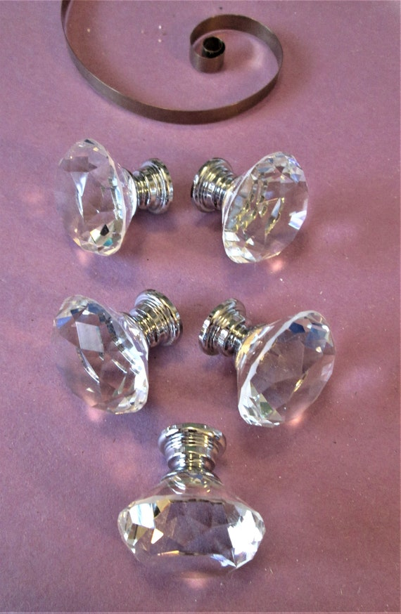 "Set of 5 New Glass & Shiny Chrome 1 1/4"" Wide Furniture / Clock Case Knobs with Screws for your Furniture Projects and Etc.."