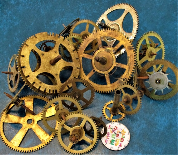 20 Assorted Large and Medium Sized Antique Clock Wheels With Other Parts Attached for your Clock Projects - Steampunk Art - Stk# 397